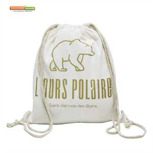 Cloth Backpack-Bag Drawstring-Bag Custom Canvas Black Cotton 100pcs/Lot Fabric Logo White