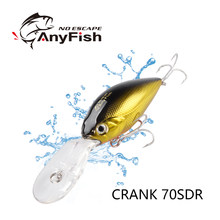 ANYFISN CRANK 70SDR Fishing lures Hard Minnow Crankbaits Cranks Baits sinking Lure 7cm 16g Wobblers with OWNER Hooks(China)