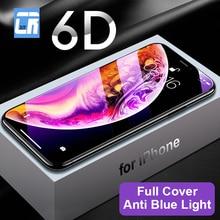 6D منحني حافة غطاء كامل حامي الشاشة الزجاج المقسى آيفون 11 برو X XS ماكس XR 8 7 6 6s زائد مكافحة الضوء الأزرق واقية