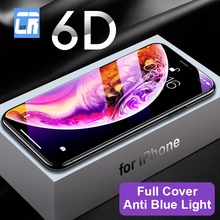 6D Curved Edge Full Cover Screen Protector Tempered Glass for iPhone X XS MAX XR 8 7 6 6s Plus Anti Blue Light Protective Film 6d anti purple blue ray tempered glass for iphone xs max xr x 6 6s 7 8 plus full curved screen protector eye protective film