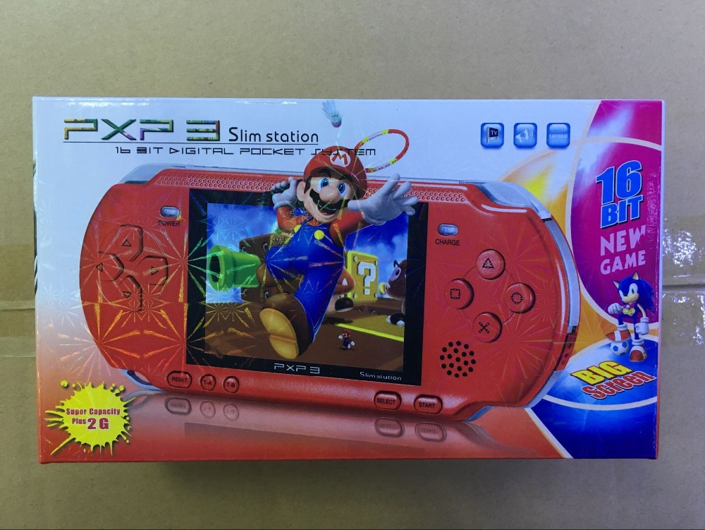 NEW 16 Bit PXP3 Handheld Game Player Video Game Console with AV Cable Support TV-out 2 Game Cards PXP 3 Slim Station Classic(China)