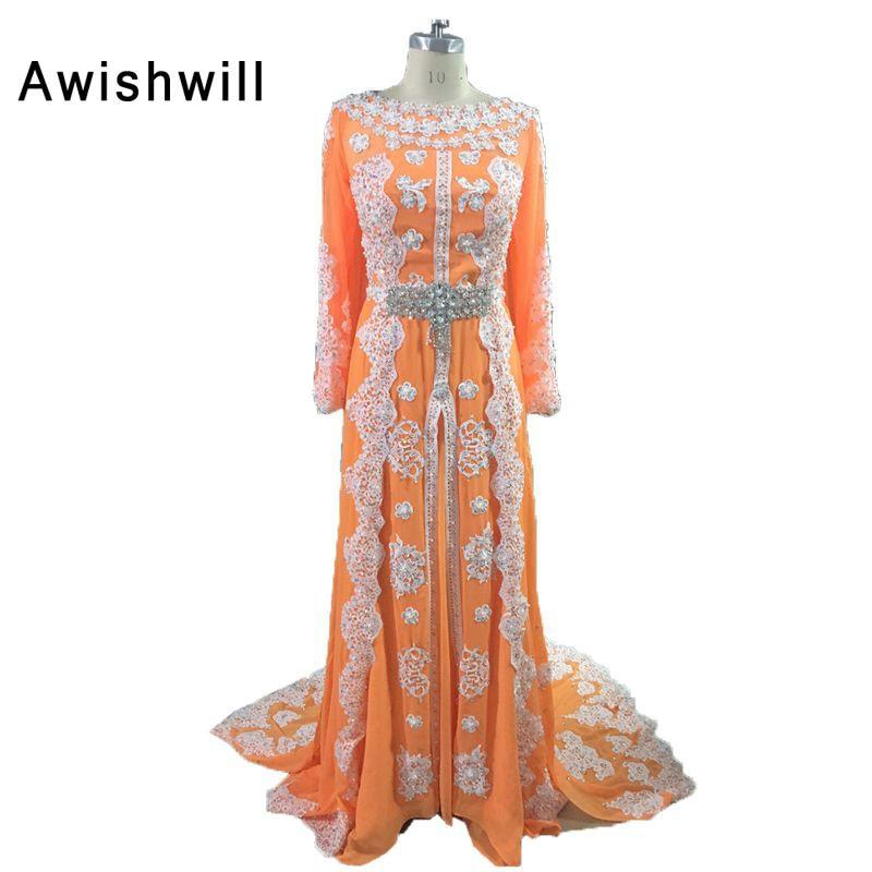 Eleganta Aftonklänningar Beaded Appliques Lace Muslim Aftonklänning Lång Ärmar Marockansk Kaftan Klänning Chiffon Dubai Kaftan