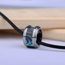 Wholesale Tungsten Round Pendants Inlay Deep Sea Shell Necklace Accessories For Man and Woman Best Gift Free Shipping