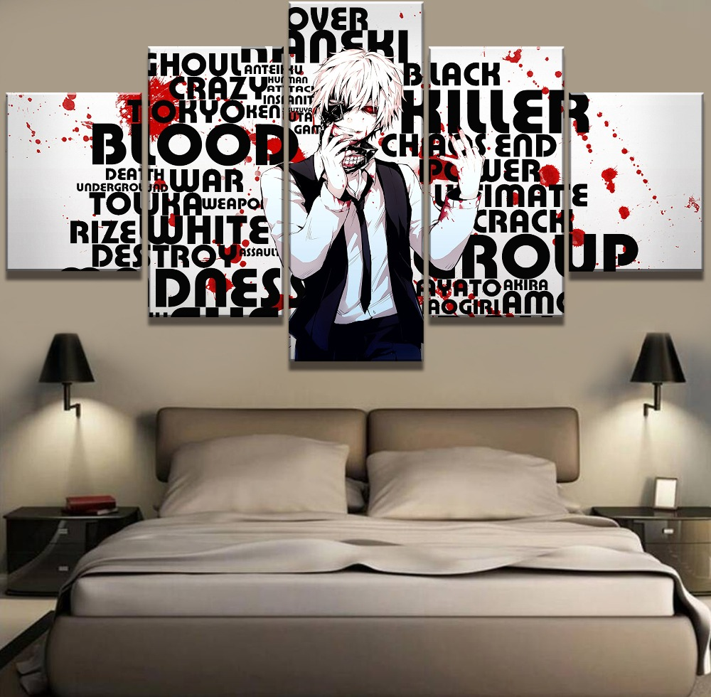 New 5 Piece Canvas Art Tokyo Ghoul Anime Poster Cuadros Decoracion Paintings on Canvas Wall Art for Home Decorations Wall Decor