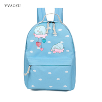 Sweet Elephant Backpack Women Cute Cloud Printing Rucksack For Teenage Girls Fresh Style Shoulder School Bag