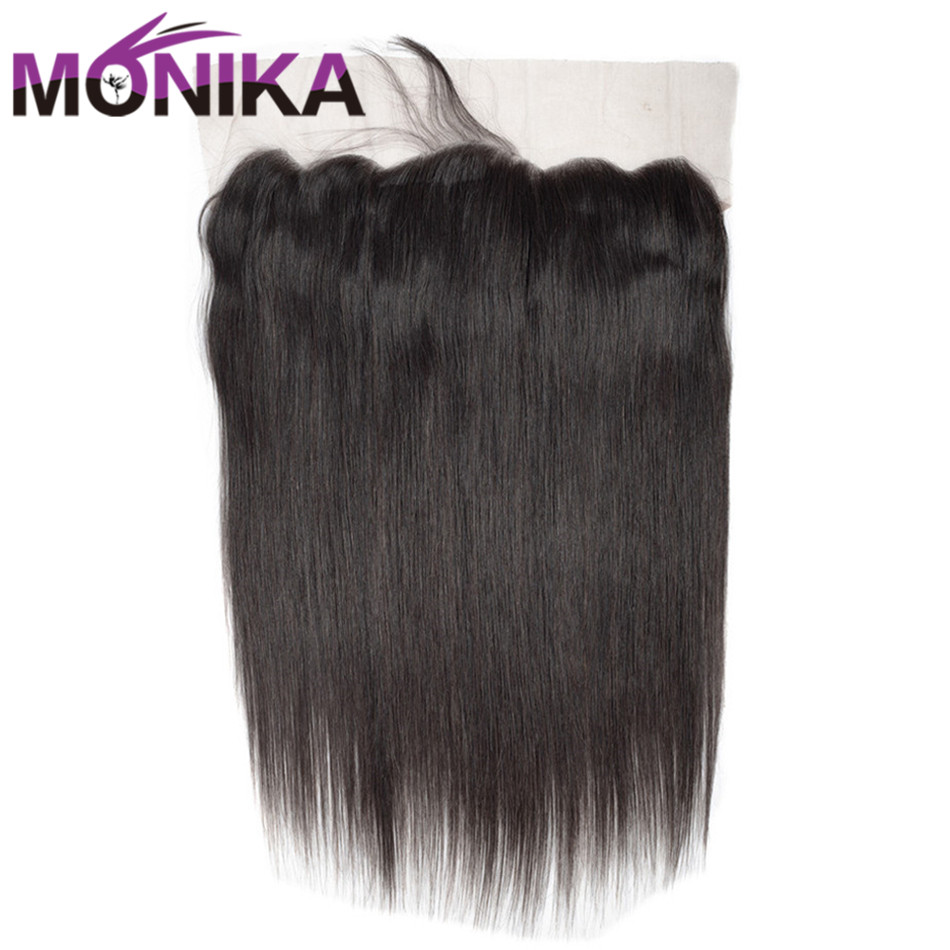 Monika Hair Ear to Ear Lace Frontal Closure With Baby Hair 13*4 Pre Plucked Lace Frontal Straight Brazilian Human Hair Non Remy