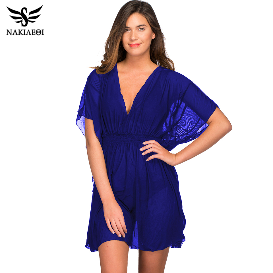 NAKIAEOI New 2019 Pareo Beach Cover Up Mesh Bikini Cover Up Swimwear Women Robe De Plage Swimsuit Beach Bathing Suit Cover-Ups