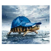 DIY diamond painting sea turtle hat embroidery Marine life blue Mosaic cross stitch decor