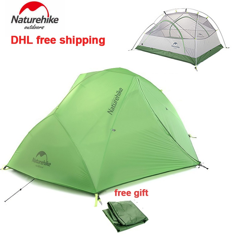NatureHike 2017 New Arrived 2 Person 4 Season Camping Tent Hiking Double-layer Waterproof Tent With Mat Star River 20D Update good quality flytop double layer 2 person 4 season aluminum rod outdoor camping tent topwind 2 plus with snow skirt