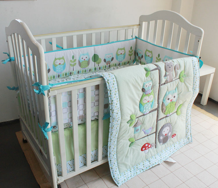 wholesale new design 4PCS green and blue owl on the tree pattern cotton polyester baby crib bedding set products for boyswholesale new design 4PCS green and blue owl on the tree pattern cotton polyester baby crib bedding set products for boys