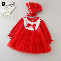 Autumn winter red long sleeved infant baby girl princess dress newborn baptism birthday wedding party dress for a little girl