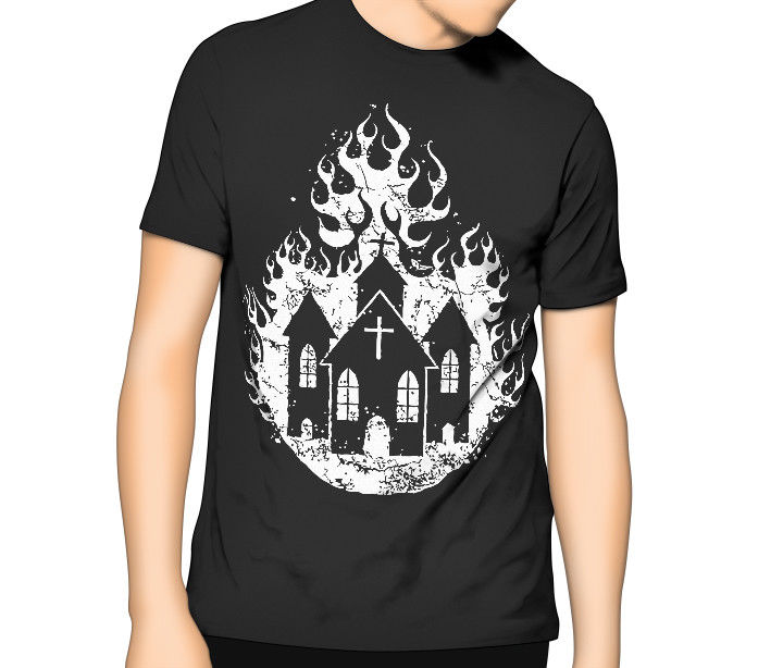 Burning Church - Satanic Occult Luciferian T-shirt S-6XL  XLT - 3XLT Sleeve Tops T shirt Homme Top Tee