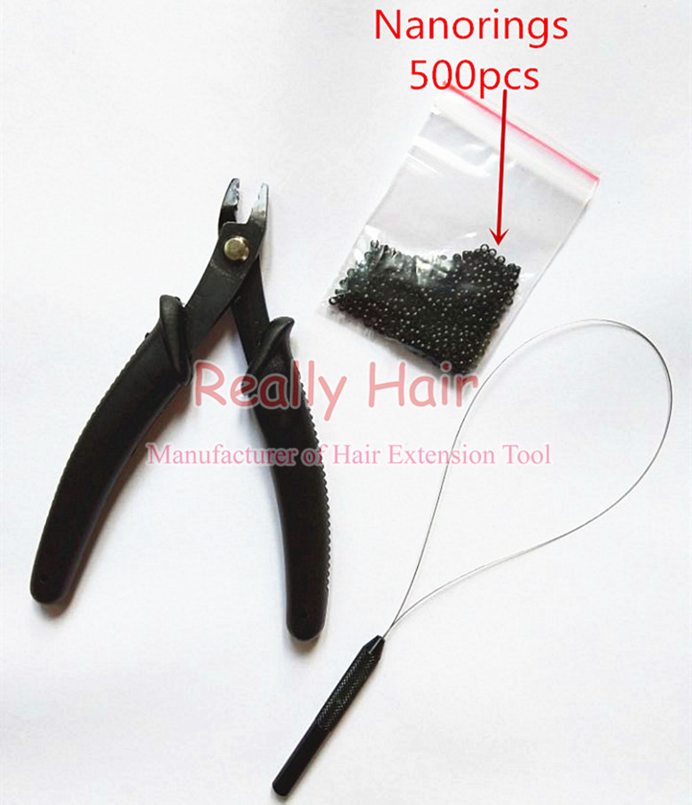 500pcs Nano rings+1pcs Nano plier+1 pcs NanoRings hook needle for NanoRings hair extension tool kits