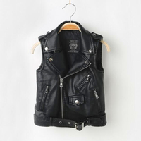 Girl Vest,Spring Autumn,Kids Boy Waistcoat,Kids Boy Girl Clothes,Pullover Sweater,PU Leather Coat Jacket,For 3 12T