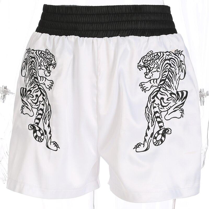 Women   Shorts   Casual Loose Harajuku Female Summer Embroidery Tiger High Waist Spandex   Shorts   Streetwear White   Short   Pants