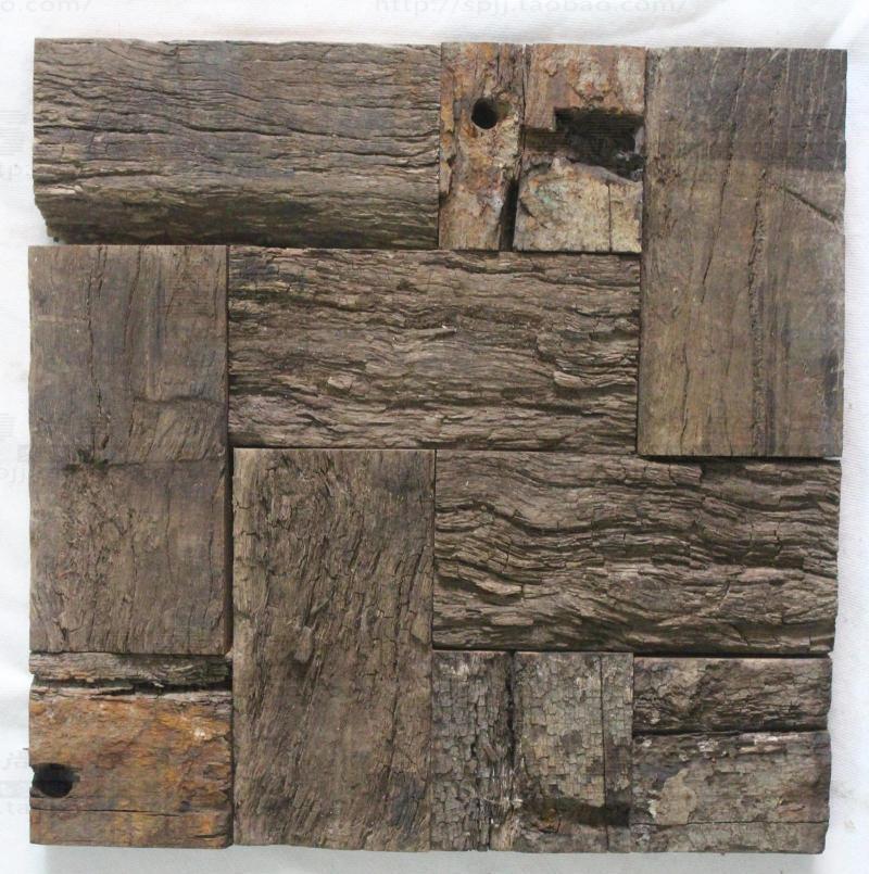 ancient ship wood tile mosaic pattern rustic style wall decor kitchen  backsplash living room wall mosaic