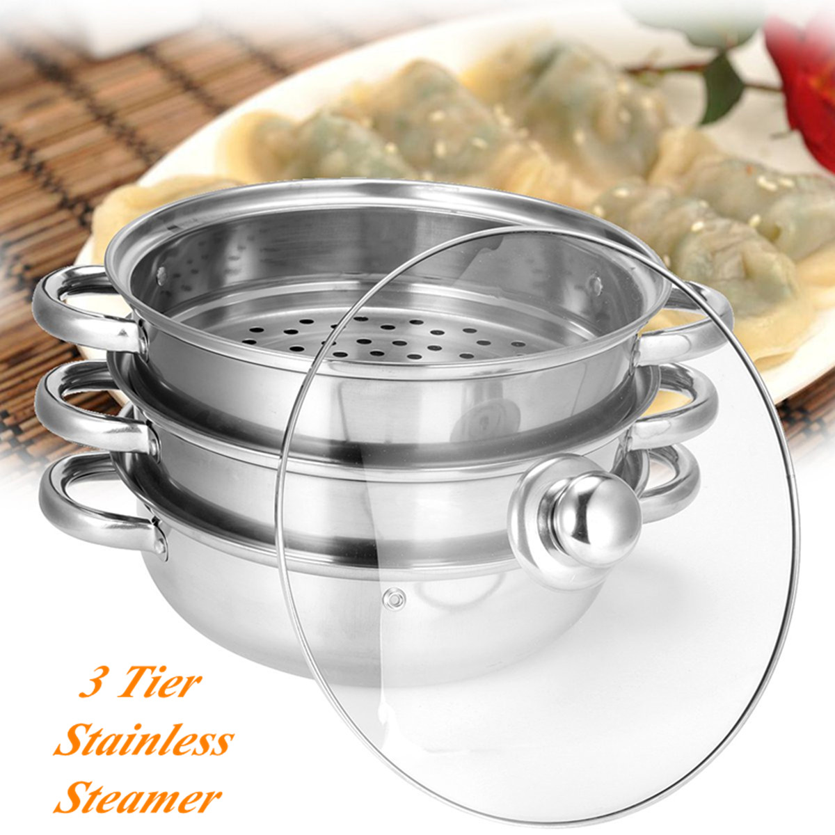 3 Tier Stainless Steel Steamer Saucepan Pot Thicken Boiler Induction Compatible Kitchen Home Steaming Soup Pot Steamer Cookware