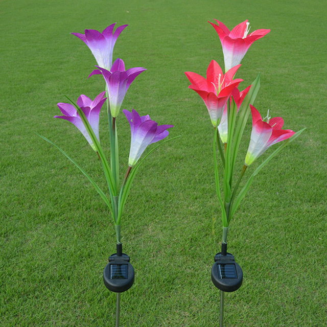 2pcs Lot Anti True Solar Flowers Lamp Lily Lights Lawn Garden Home Outside Tree Decoration Outdoor Ligthing
