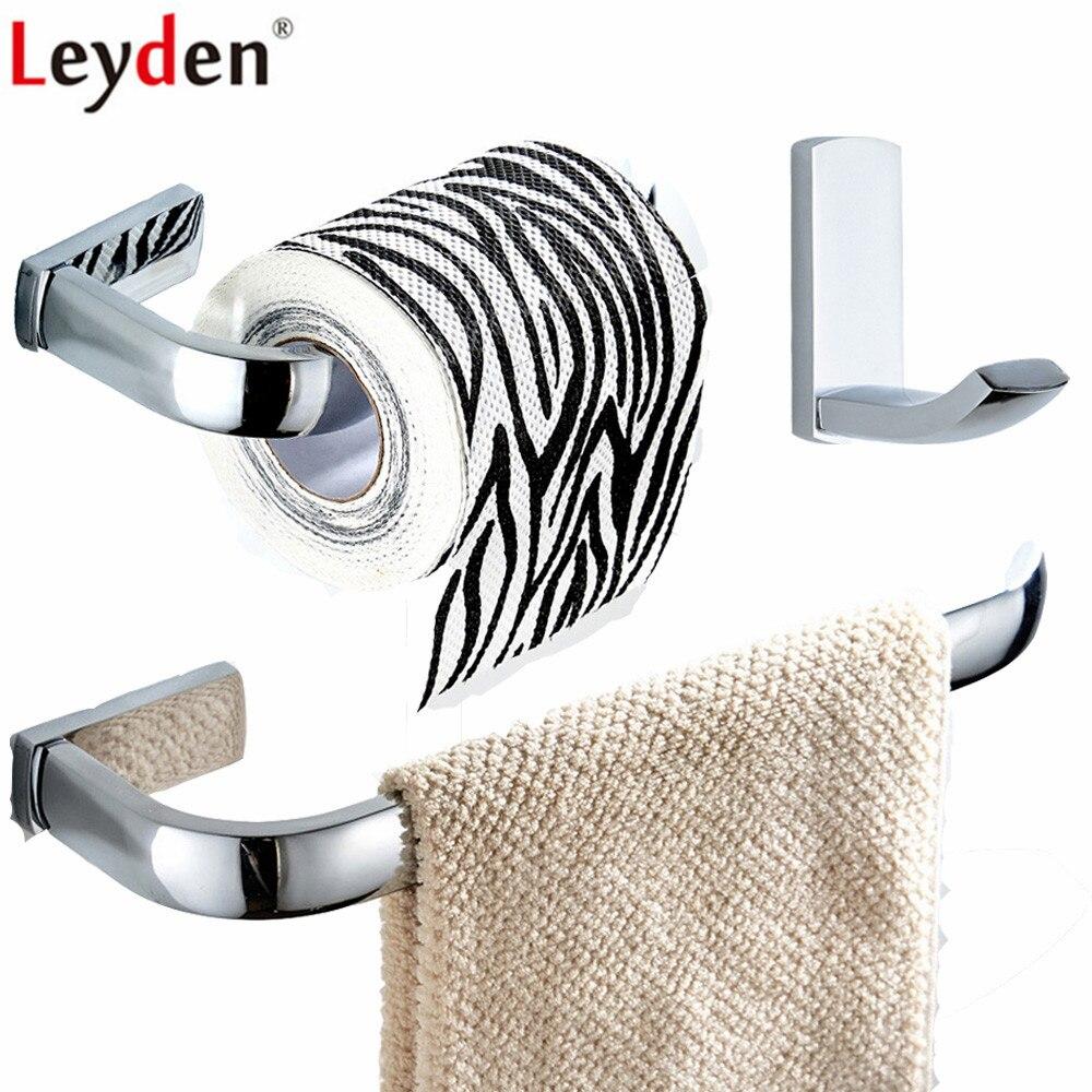 Leyden 3pcs Chrome Brass Towel Ring Holder Toilet Paper Holder Tissue Holder Clothes Towel Hook Bathroom