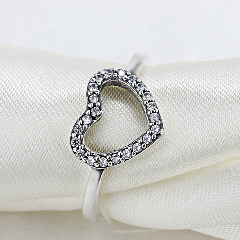 484a98533 HOMOD 2018 New Silver Color Heart Shape My Valentine Pandora Ring with  Clear CZ Original Women Jewelry Gift Dropshipping-in Rings from Jewelry &  Accessories ...