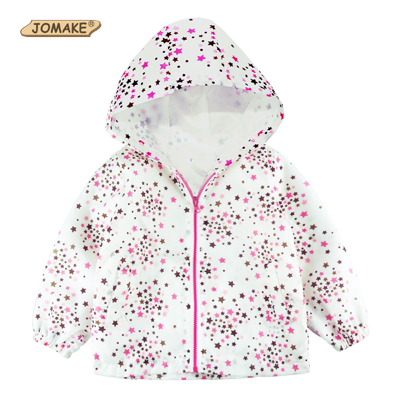 New Arrival 2018 Spring Children Clothing Stars Full Printed Long Sleeve Girls Casual Hooded Thin Princess Jackets Kids Clothes