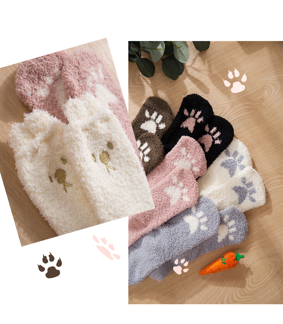 Ladies Winter Japanese Embroidery Animal Corals Velvet Stereo Ear Thick Warm BedS Bed Home Fluffy Socks Coral Velvet Foot Cover (3)