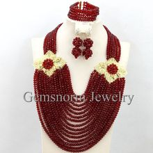 Fantastic Wine Nigerian Wedding Beads Jewelry Set Big Costume Crystal Bridal Jewelry Set Free Shipping WB173