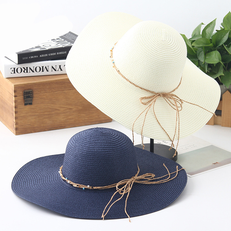 HT1551 New Brand Summer Hats for Women Sunhat Ladies Large Brimmed Sun Hats  Female Wide Straw Hats Packable Floppy Beach Hats 978ad80517d