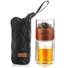 200ml Glass Water bottle With Tea Infuser Glass Cups Travel