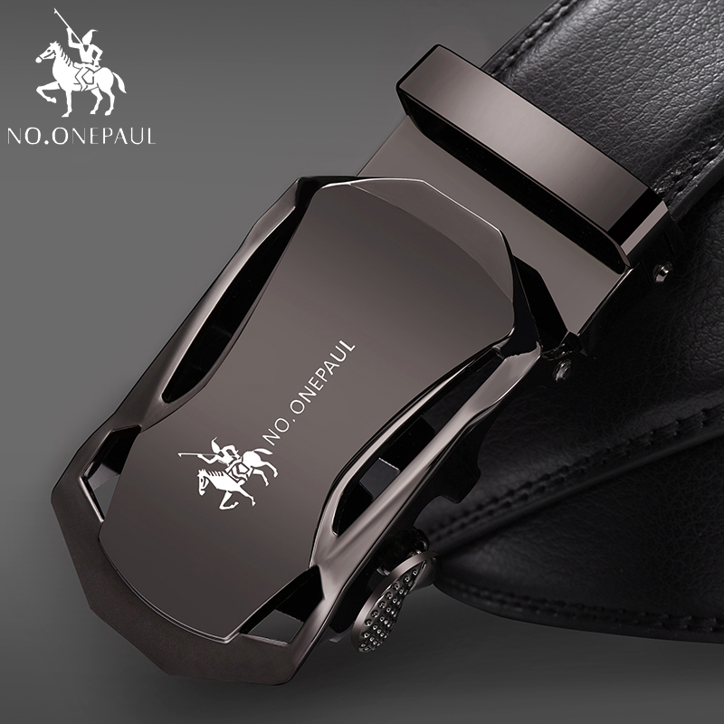 NO.ONEPAUL Luxury Black Famous Brand Mens Genuine Leather Belt For Men Silver Automatic Buckle  Strap Gold Designer Belts Cinto