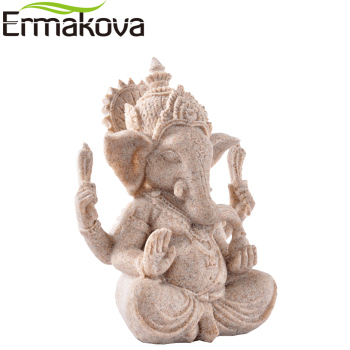 Tall Indian Ganesha Statue Fengshui Sculpture Natural Sandstone Craft Figurine Home Desk Decoration Gift 1