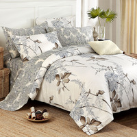 American Country Style Bedding Set Quality Egyptian Cotton Bedding Sets Green Leaves Print Duvet Cover Bedding