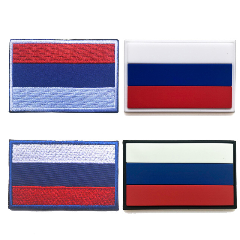 Russia Country Flag Outdoor tools 3D Embroidery hook loop fasten Cloth Backpack Magic Stickers Armbands Hat Stickers Flag 8*5CM