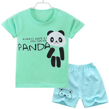 2019 new baby boy clothes body suit quality 100% cotton childrens sets summer cartoon panda kids clothing girls