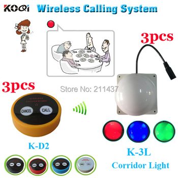 Restaurant wireless waiter call system K-D2 call for client in the private rooms and corridor light for waiter in the corridor