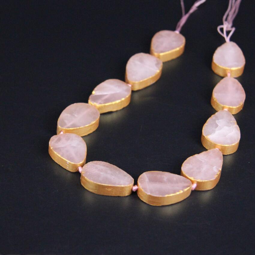 11 шт. натуральное розовое Quartzs плоским слеза свободные Бусины, золото краями розовый кристалл плиты Подвески Цепочки и ожерелья для DIY ювели...