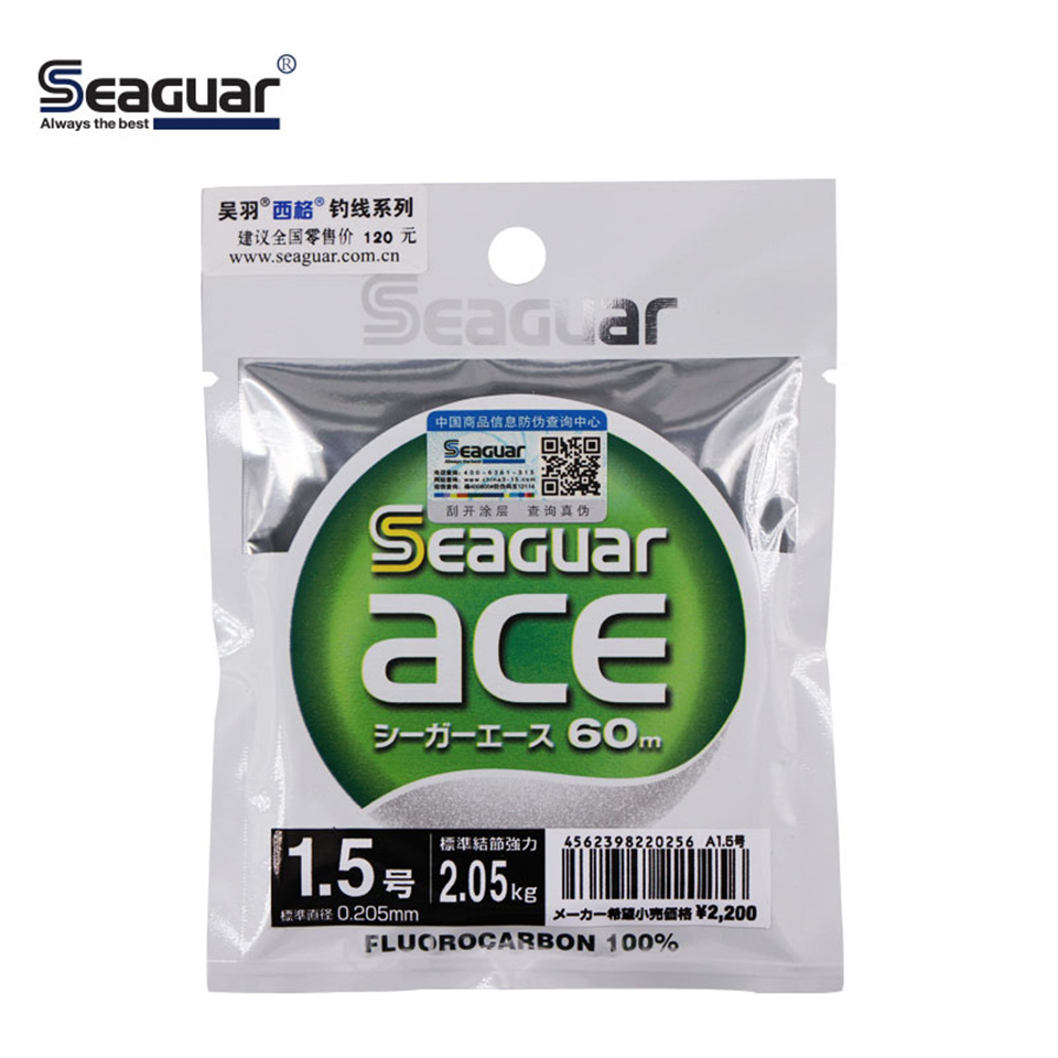 SEAGUAR ACE 60M 100% FLUOROCARBON Fishing Line 0.95KG-10.4KG Power Made In Japan Wear Resistant FLUORO CARBON Fishing Lines
