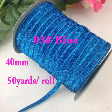 Blue Glitter Metallic Velvet Ribbon Rope DIY Jewelry Hair Accessories Wedding Party Sewing Webbing Gift Packing Cord Decoration