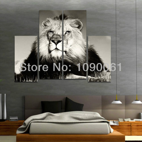 Hand Painted Grassland Animal Lion King 4 Panel Canvas Painting