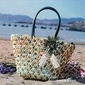 Bolsa de palha 2015 Nova Moda Quente do Verão Praia Sacos de Tecido Luz Material do Saco Das Mulheres Frete Grátis A1118