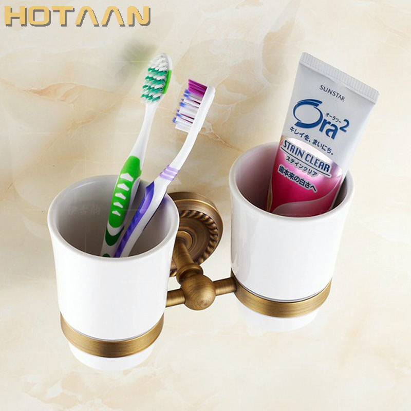 Free shipping Fashion toothbrush holder,Pure copper&glass,Double cup, Bathroom cup holder bathroom set-wholesale YT-12208 sale free shipping solid chrome finished single cup holder toothbrush holder glass bathroom accessories wholesale 84003
