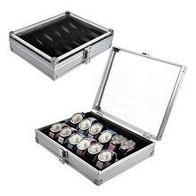 2016 Nueva Llegada Útil Joyería de 6/12 Ranuras de Rejilla Relojes Display caja de Almacenamiento Caja De Aleación De Aluminio WE166DE