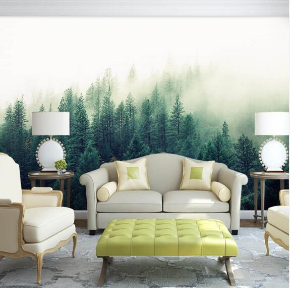 Custom 3d Papel Murals Nature Fog Trees Forest Wallpaper For Sofa Background 3d Wall Photo Mural Wall Paper 3D Wall Murals