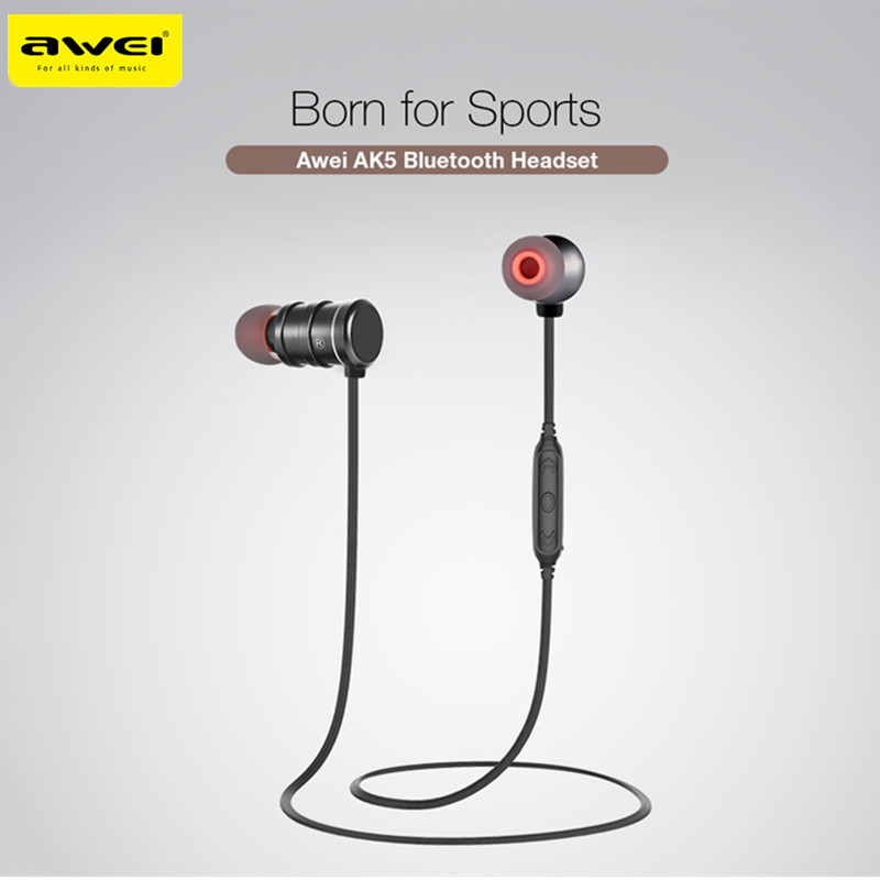 AWEI AK5 Bluetooth Earphone Wireless In-ear Sports Earphones With Magnetic Controller Headset Bluetooth Earphone for Smartphones