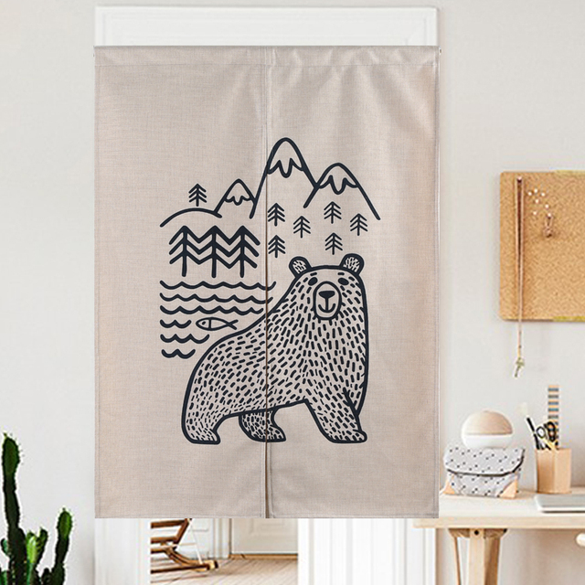 Simple geometry bear forest black and white classic door curtain linen tapestry study bedroom home decor