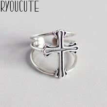 3fea8efb752a RYOUCUTE puro Real de la joyería de la plata esterlina 925 Retro Punk gran  cruz Anillos para las mujeres boda dedo anillo abiert.