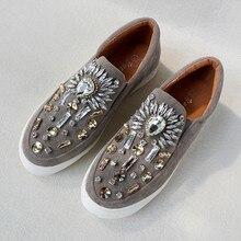2017 Ladies Slipony Women Flat Shoes Brand Designer Bling Rhinestone Ballet Flats Loafers Espadrilles Studded Horsebit Oxford