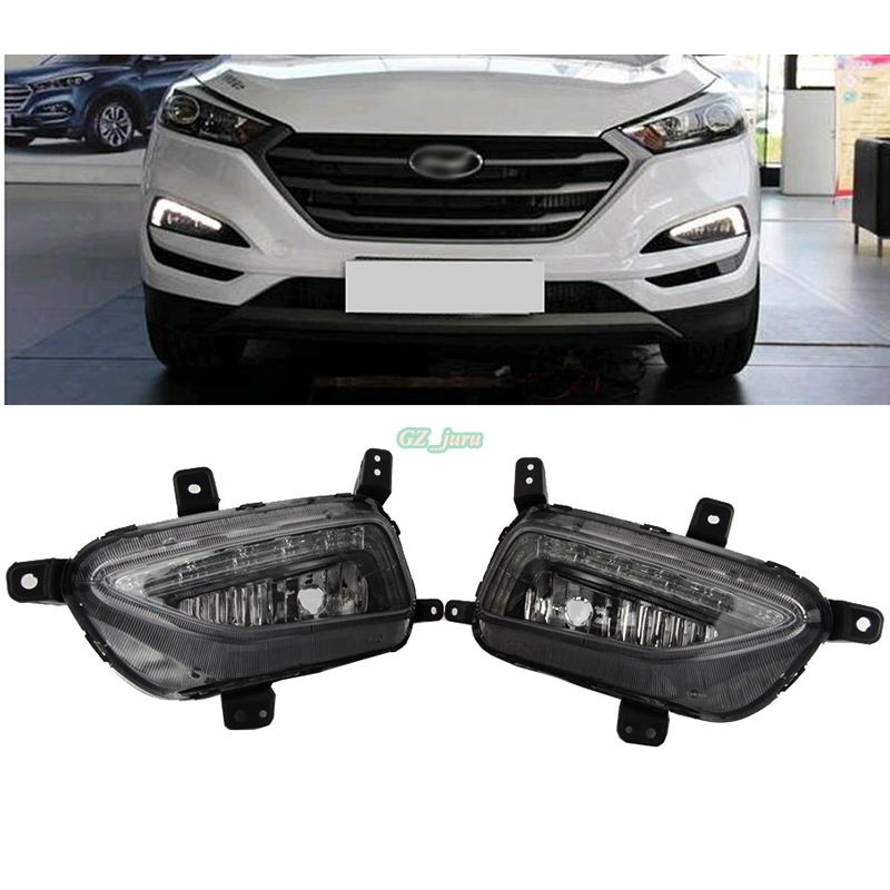 Car styling Front LED Fog Light Lamp DRL Daytime Running Lights For Hyundai Tucson 2016 2017 car styling front lamp for t oyota for tuner 2012 2013 daytime running lights drl