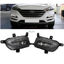 Car styling Front LED Fog Light Lamp DRL Daytime Running Lights For Hyundai Tucson 2016 2017