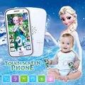 Inglês dos desenhos animados multifuncional telefone de brinquedo do bebê crianças móvel com canção deixá-lo ir brinquedo musical eletrônico com história, Gravação e luz
